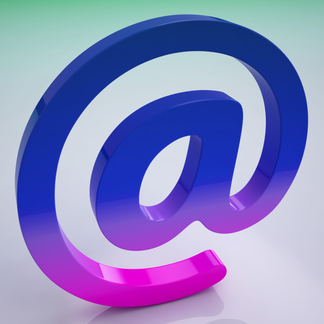"""""""At Sign Shows E-mail Symbol For Message"""" stock image"""