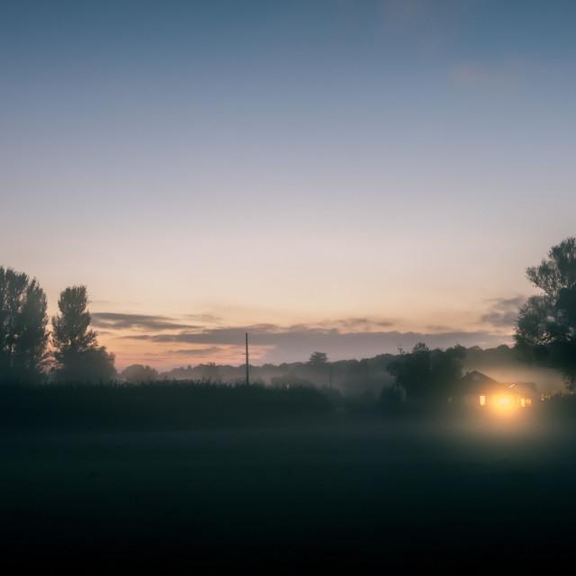 """Warm glow over a misty field"" stock image"