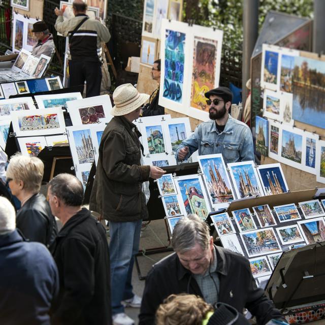 """Art street vendors sell their wares outside the Basilica Sagrada Família, Barcelona, Spain"" stock image"