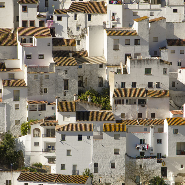 """""""Architecture of white washed moorish town of Casares, Andalusia, Spain."""" stock image"""