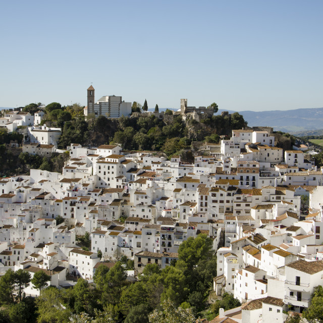 """""""White washed moorish town of Casares, Andalusia, Spain."""" stock image"""
