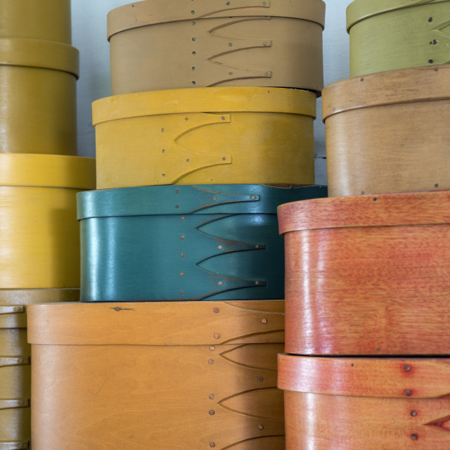 """""""Traditional bent wood Shaker boxes."""" stock image"""