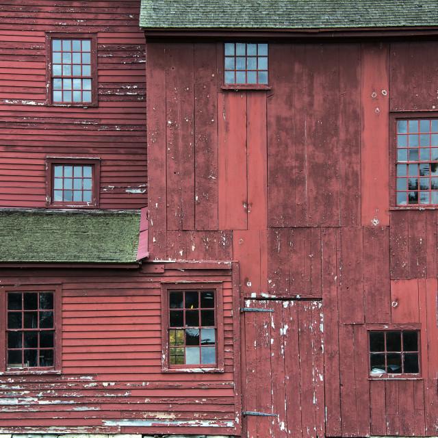 """""""Red barn detail, Hancock Shaker Village, Massachusetts, USA"""" stock image"""