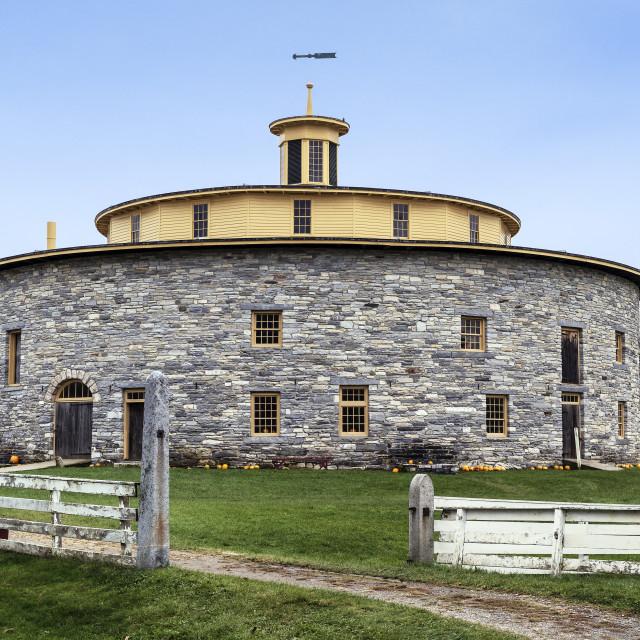 """Shaker round stone barn at Hancock Shaker Village, Hancock, Massachusetts"" stock image"