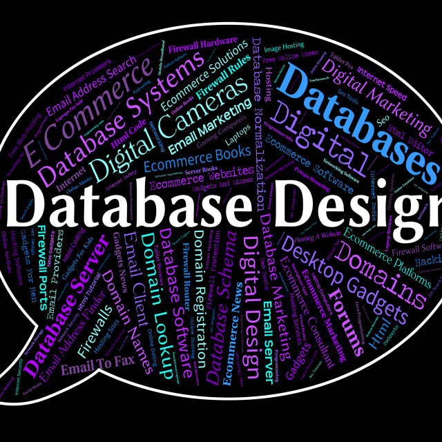 """""""Database Design Means Computer Word And Designed"""" stock image"""