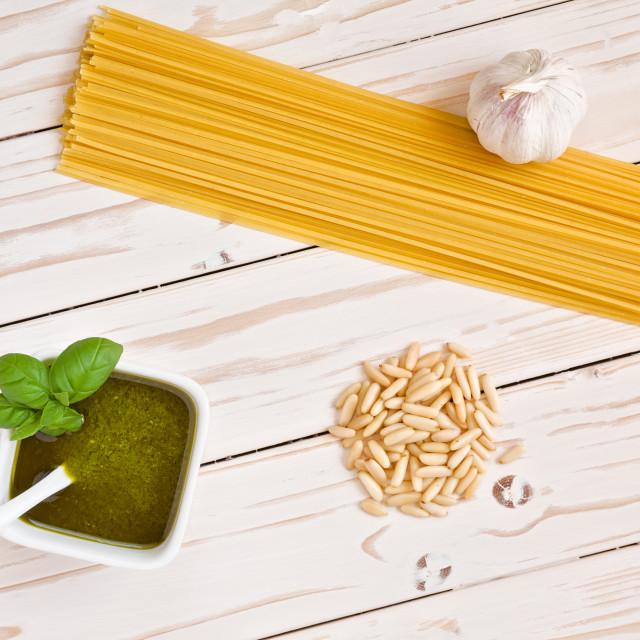 """Pesto genovese and linguine pasta, pine nuts and garlic"" stock image"