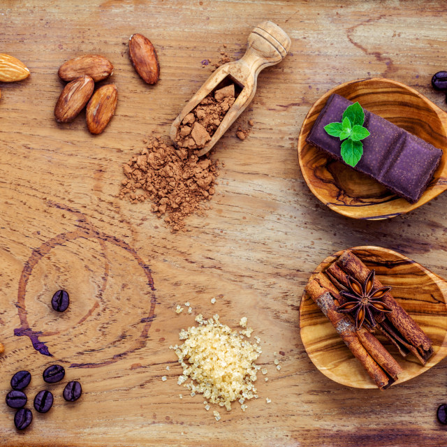 """""""Desserts background. Chocolate powder in scoop. Roasted cocoa beans ,sugar..."""" stock image"""
