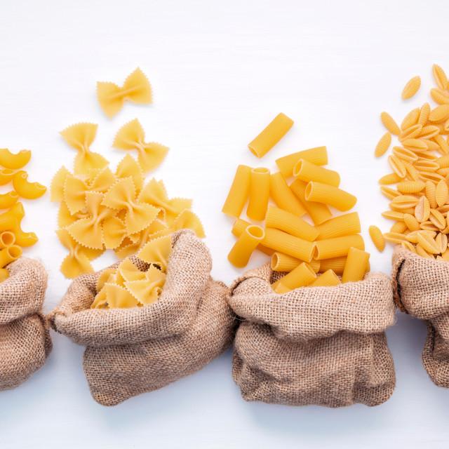 """Italian foods concept and menu design . Various kind of Pasta Elbow Macaroni..."" stock image"