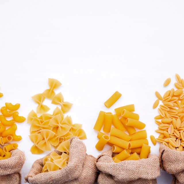 """""""Italian foods concept and menu design . Various kind of Pasta Elbow..."""" stock image"""