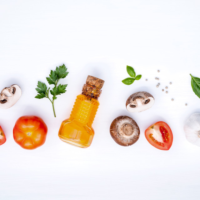 """""""Italian foods concept and menu design. Various vegetable and ingredients for..."""" stock image"""