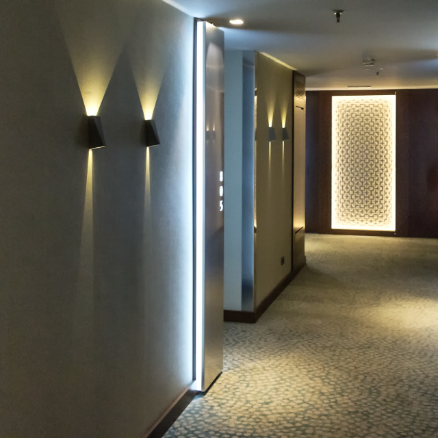 """Hotel hallway and rooms., Barcelona, Spain"" stock image"