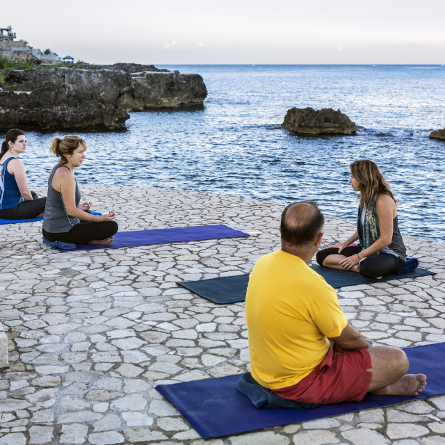 """Yoga retreat practice and instruction, Negril, Jamaica"" stock image"