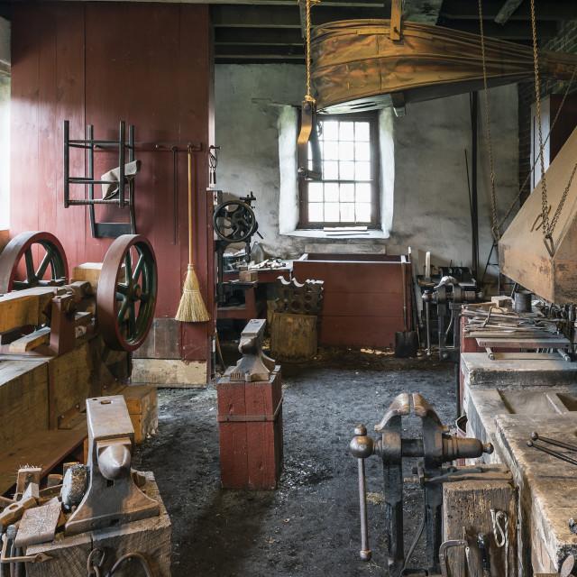 """Blacksmith shop, Hancock Shaker Village, Hancock, Massachusetts, USA"" stock image"