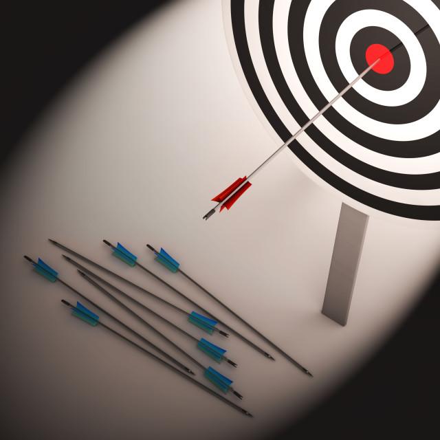 """""""Arrow On Dartboard Shows Failure Or Failed Shot"""" stock image"""