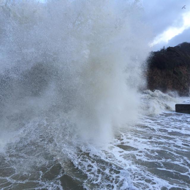 """Storm waves at Charlestown Cornwall United Kingdom"" stock image"