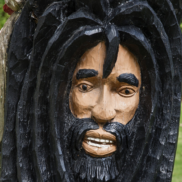 """Rastafarian wood carving, Negril, Jamaica"" stock image"