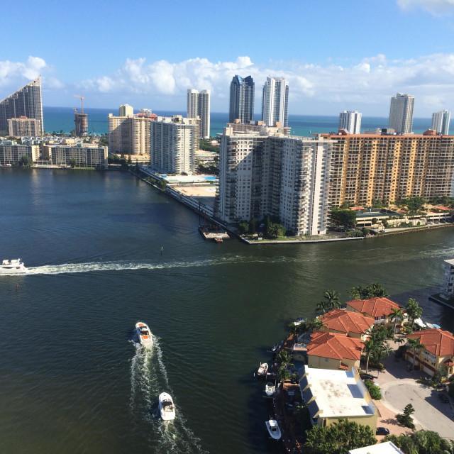 """View from a condo in Miami"" stock image"