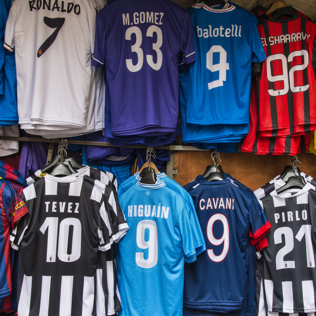 """Soccer star player team futball jerseys for sale, Italy"" stock image"