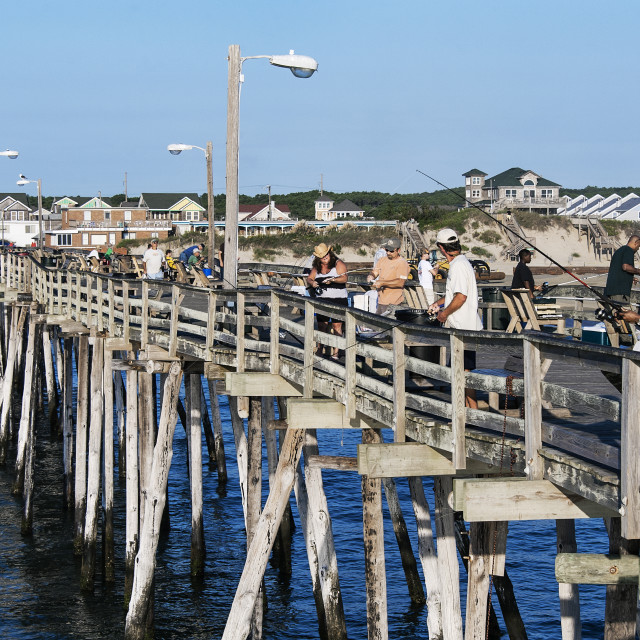 """Fishing pier, Nags Head, Outer Banks, North Carolina, USA"" stock image"