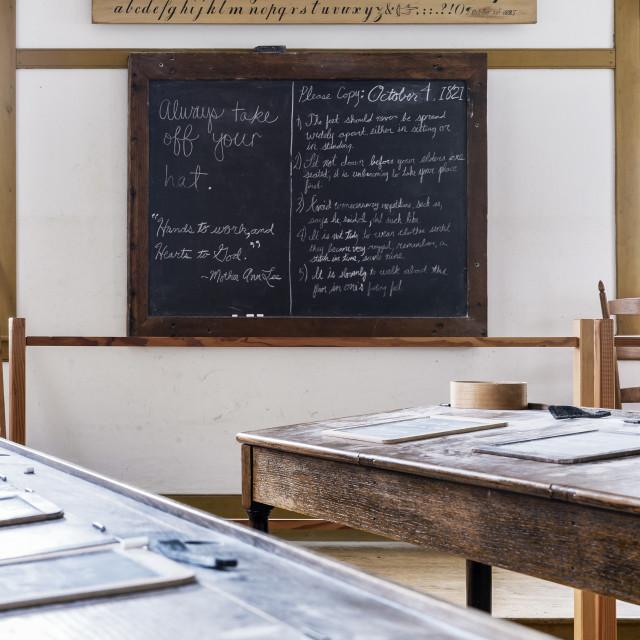"""Shaker scholl classroom, Hancock Shaker Village, Massachusetts, USA"" stock image"