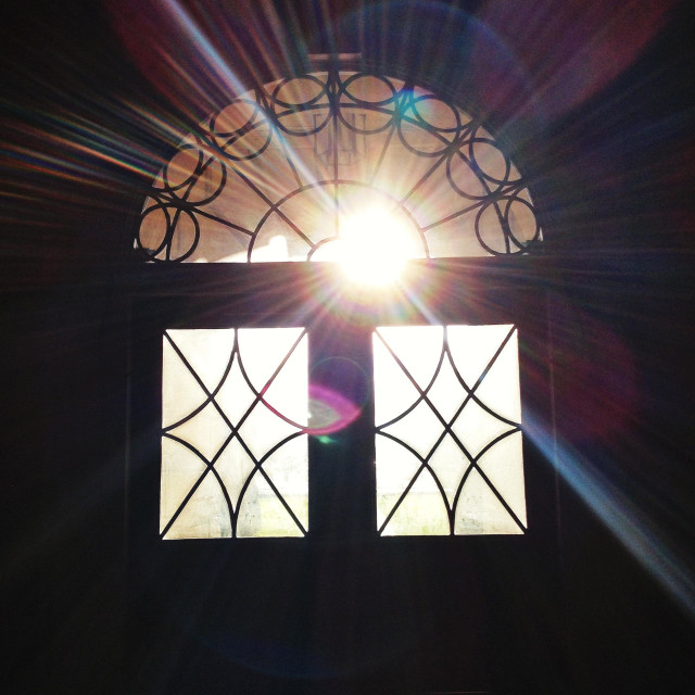 """Light streaming through a Georgian window"" stock image"
