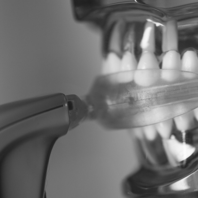 """Vibrating dental device with invisible orthodontics"" stock image"
