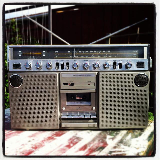"""Vintage boom box stereo"" stock image"