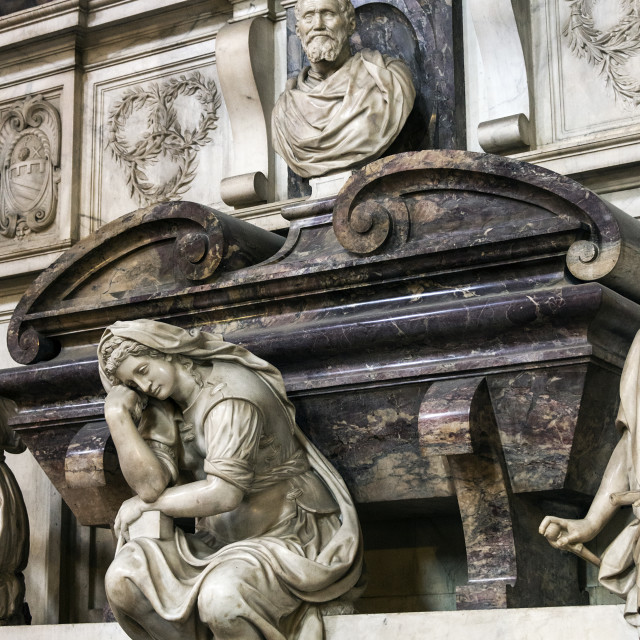 """Michelangelo's Crypt located in the church of Santa Croce Basilica, Florence, Italy"" stock image"