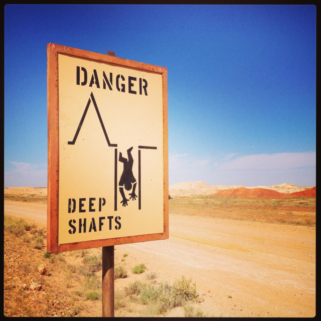 """Deep shafts sign, Coober Pedy"" stock image"
