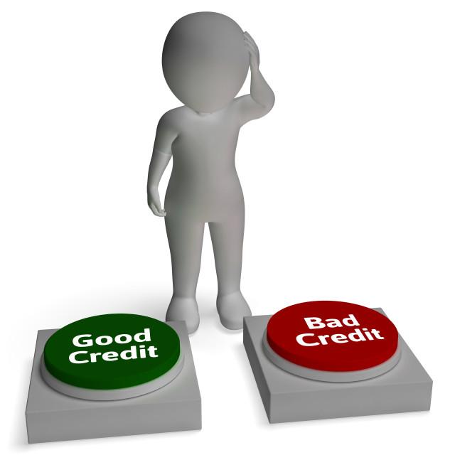 """Good Bad Credit Shows Rating"" stock image"