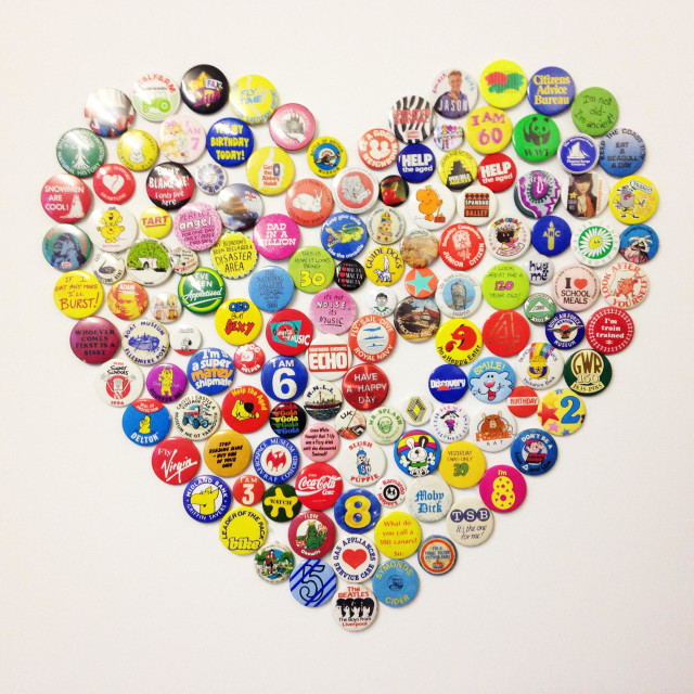 """Heart made out of badges"" stock image"