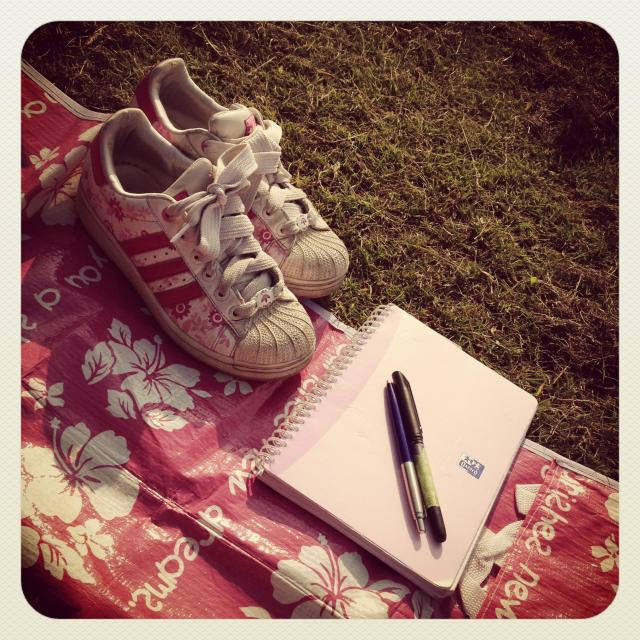 """""""Journalling in the park"""" stock image"""