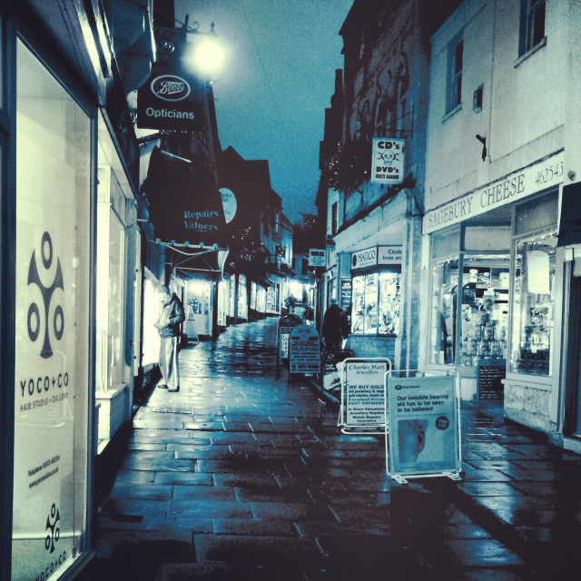 """""""Night shot of Cheap Street, Frome, Somerset, England"""" stock image"""