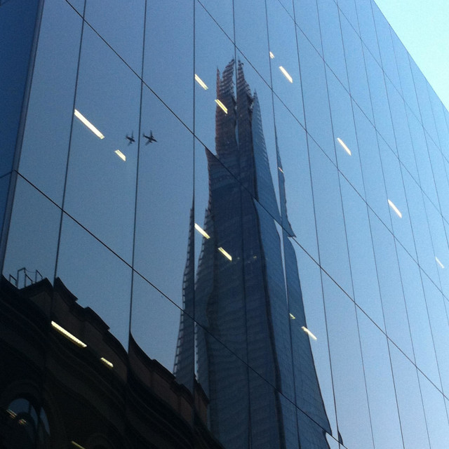 """""""Mirrored reflection of a tall London building"""" stock image"""
