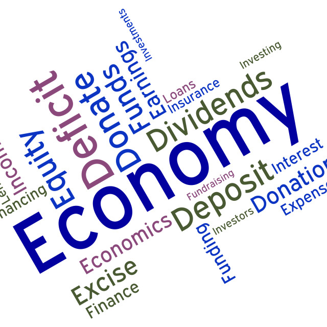 """Economy Word Means Micro Economics And Economical"" stock image"