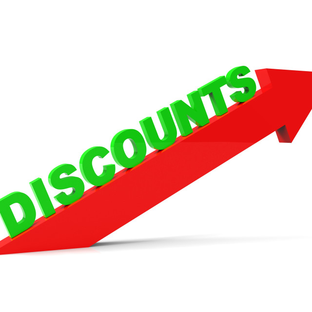 """Increase Discount Indicates Cut Rate And Arrow"" stock image"