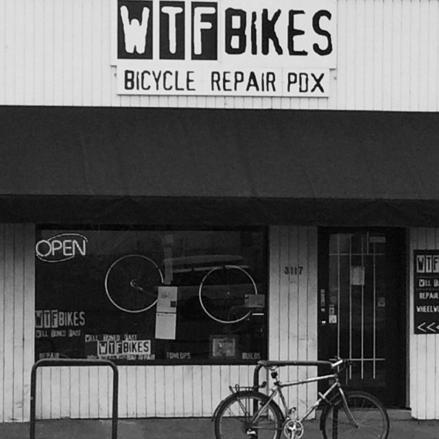 """WTF Bikes Portland, Oregon"" stock image"