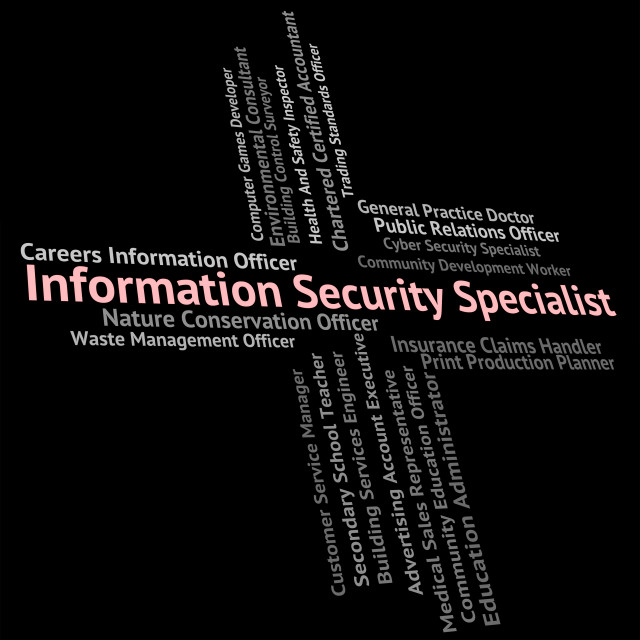 """Information Security Specialist Shows Skilled Person And Specialists"" stock image"