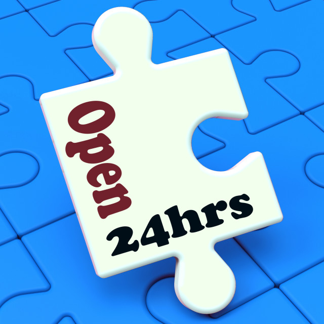 """""""Open 24 Hours Puzzle Shows All Day 24hr Service"""" stock image"""