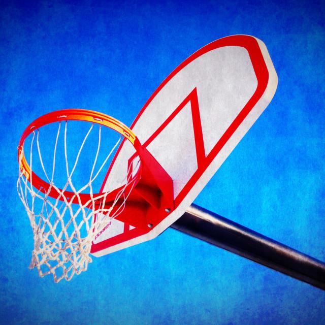 """""""Basketball hoop and backboard."""" stock image"""