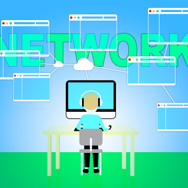 """""""Computer Network Represents Global Communications 3d Illustration"""" stock image"""