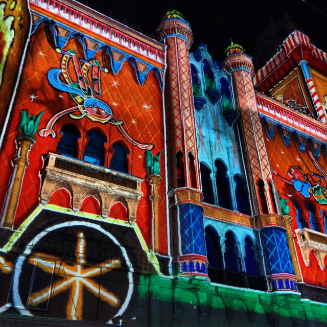 """White Night Melbourne, Light projection on Forum Theatre"" stock image"