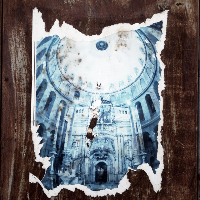"""""""Thorn poster depicting Church of Holy Sepulchre at the Christian quarter in Old city east Jerusalem Israel"""" stock image"""