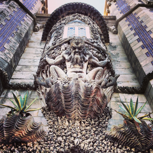 """""""The depiction of a new creation of the world, Peña palace, Sintra,Portugal"""" stock image"""