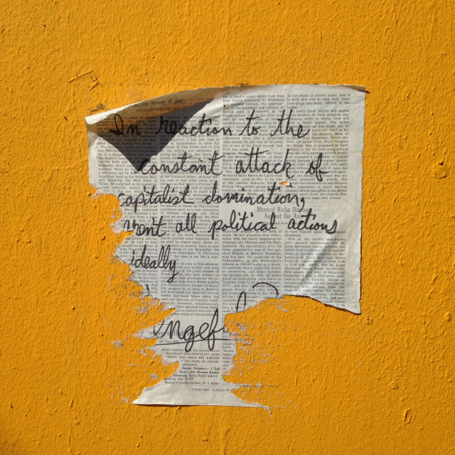 """Political statement posted on the street in Oakland, California"" stock image"
