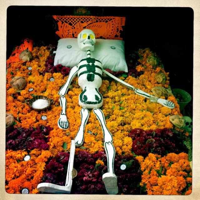 """A paper mache skeleton sleeping in a bed of marigold flowers decorates an altar during Day of the Dead in Mexico City, Mexico"" stock image"