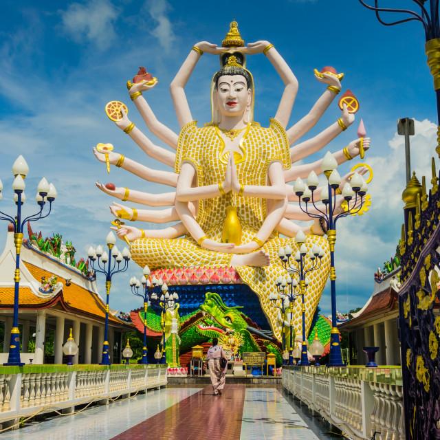 """Statue of Hindu God Durga in Koh Samui, Thailand"" stock image"