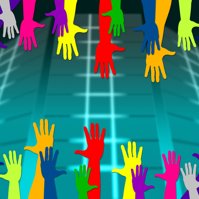 """""""Reaching Out Means Hands Together And Arm"""" stock image"""