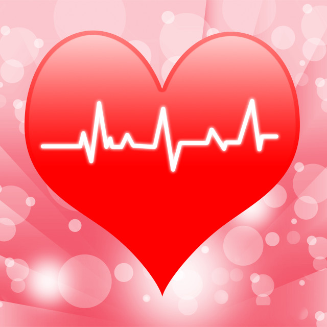 """Electro On Heart Shows Beating Heart Or Heartbeat"" stock image"