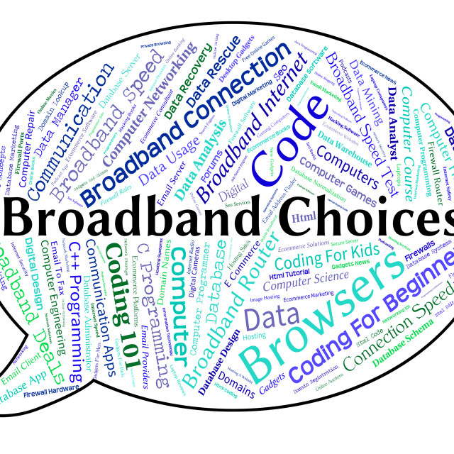 """Broadband Choices Shows World Wide Web And Alternative"" stock image"